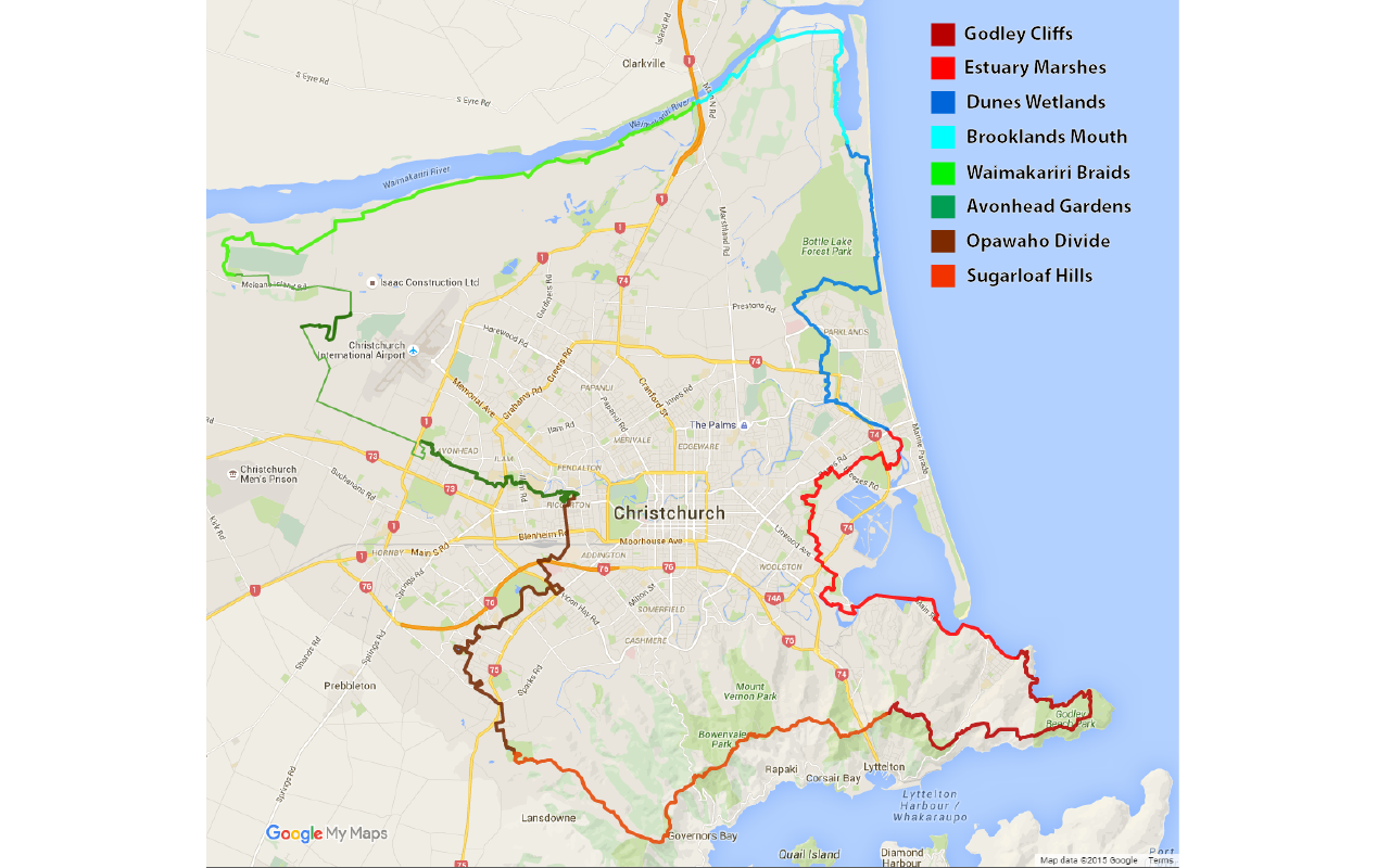 Overview of the Christchurch 360 trail